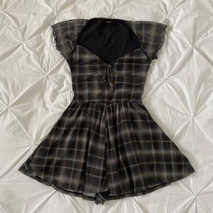 Milly Mesh Plaid Playsuit Romper from Urban Outfitters